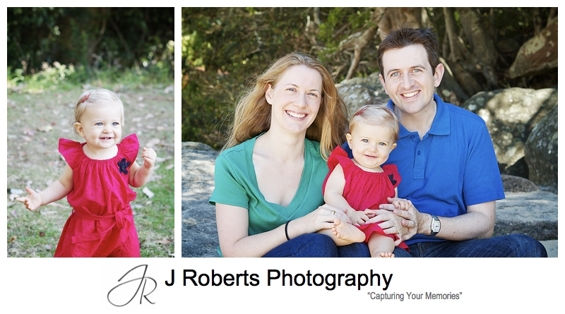 Family with a 1 year old girl portraits - family portrait photography sydney